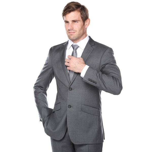 Verno Men's Dark Grey Wool Slim-Fit 2-Piece Suit