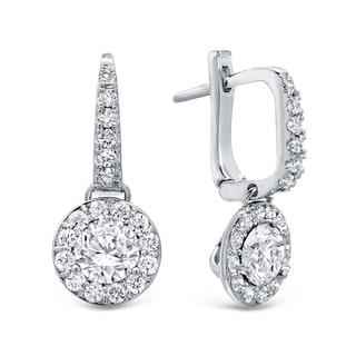 Auriya 14k Gold 2ct TDW Round Cut Diamond Halo Leverback Earrings