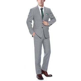 Verno Men's Light Grey Wool Classic-Fit 2-Piece Suit