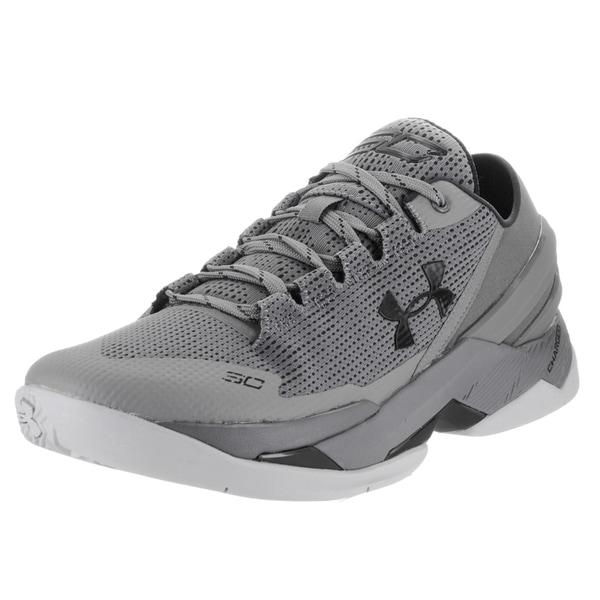 4f268cf17c85 Shop Under Armour Men s Curry 2 Grey Textile Low Basketball Shoes ...