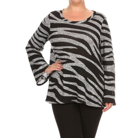 Women's Zebra Striped Polyester Blend Plus Size Tunic