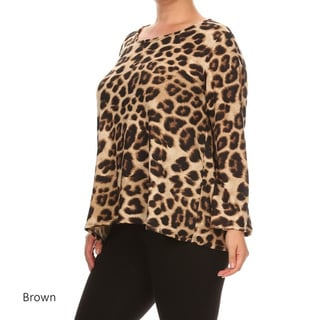 Women's Polyester and Spandex Plus-size Cheetah-print Tunic