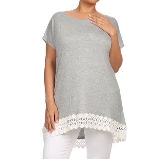 Women's Solid Plus-size Lace-trim Tunic