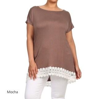 Women's Solid Plus-size Lace-trim Tunic
