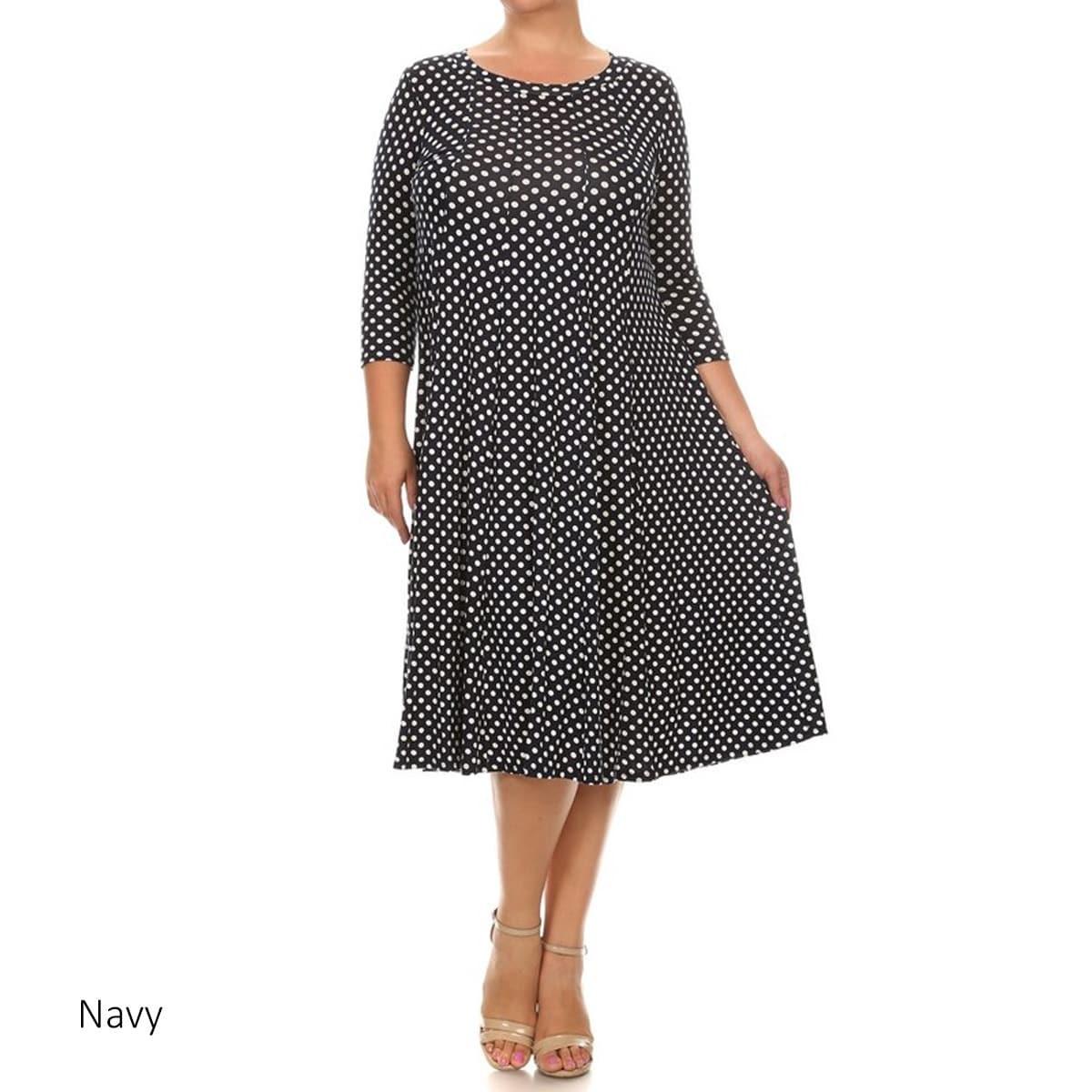 Women\'s Rayon and Spandex Plus-size Polka-dot Dress