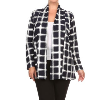 Women's Black and White Polyester and Spandex Plus-size Plaid Cardigan