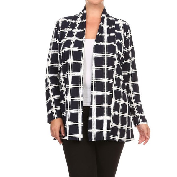76aba473d1cf7 Women  x27 s Black and White Polyester and Spandex Plus-size Plaid Cardigan