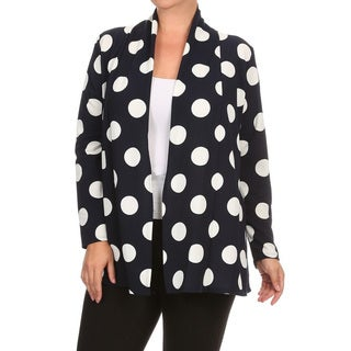 Women's Black and White Polyester and Spandex Plus-size Polka-dot Cardigan
