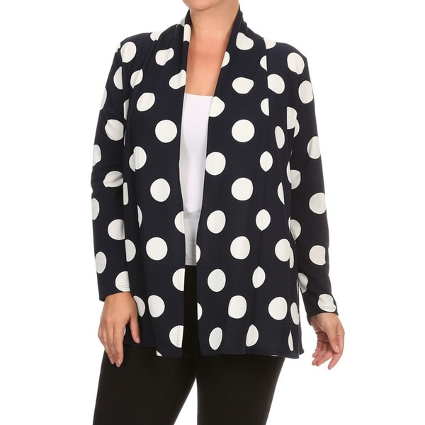 e8e0a4a0d395e Shop Women s Black and White Polyester and Spandex Plus-size Polka ...