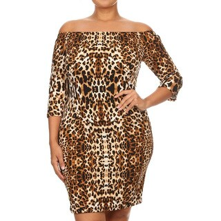 Women's Brown Polyester/Spandex Plus-size Mirrored Leopard Dress