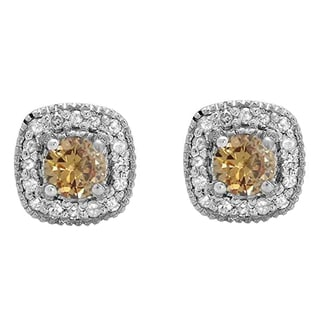 10k White Gold 3/4ct TDW Round-cut Champagne and White Diamond Halo Stud Earrings (I-J, I2-I3)