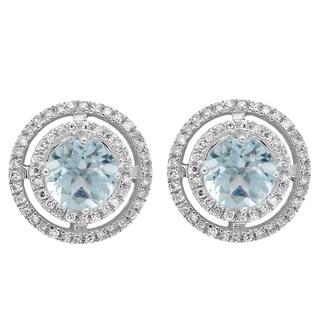 14k White Gold 1 1/6ct TGW Round Aquamarine and White Diamond Halo Stud Earrings (I-J, I1-I2)
