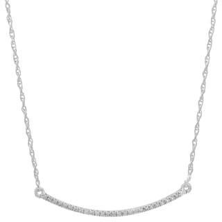 14k White Gold 1/10ct TDW Round-cut White Diamond Bar Shape Fashion Pendant (I-J, I2-I3)