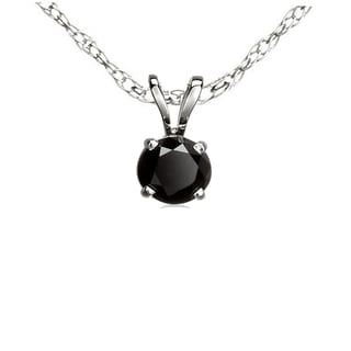 Sterling Silver 3/4ct TDW Round-cut Black Diamond Solitaire Pendant