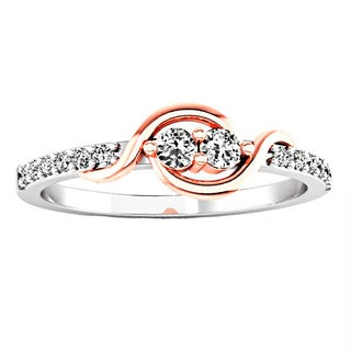 10k White and Rose Gold 1/5ct TDW White Diamond Forever Together 2-stone Engagement Ring (I-J, I2-I3)