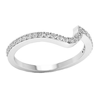 14k Gold 1/5ct TDW Round-cut White Diamond Wedding Contour Guard Band (I-J, I1-I2)