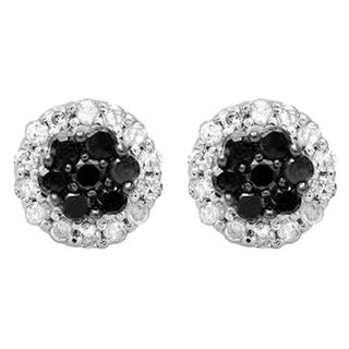 10k White Gold 1/3ct TDW Round-cut Black and White Diamond Cluster Flower Stud Earrings (I-J, I2-I3)