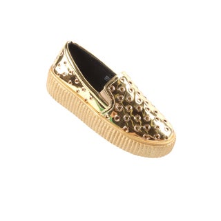 Hadari Women's Casual Fashion MetallicGoldSlip-On Sneaker Shoes