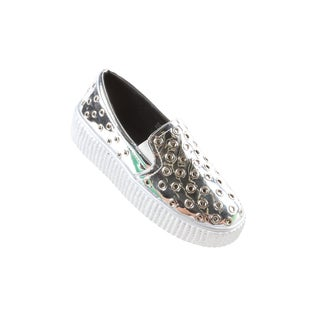 Hadari Women's Casual Fashion Metallic SilverSlip-On Sneaker Shoes