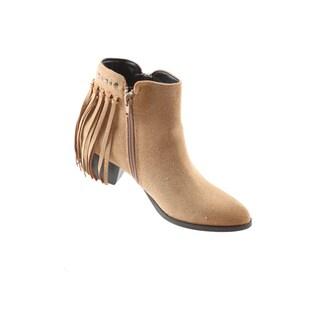 Hadari Women's Casual Side Zip Block Heel FringeTanAnkle Bootie