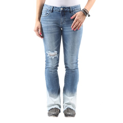 Hadari Women's Casual Stylish Distressed Ripped Denim Bootcut Jeans