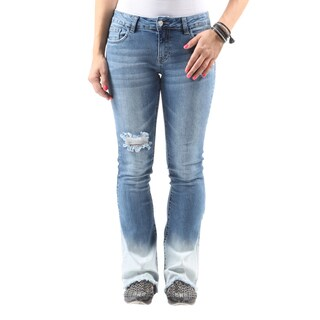 Hadari Women's Casual Stylish Distressed Ripped Denim Bootcut Jeans