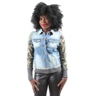 Hadari Women's Stylish Fashion Long Sleeve Button Down Camouflage Denim Jacket