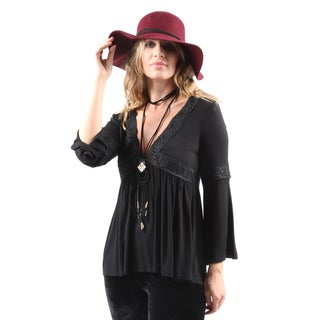 Hadari Women''s Casual Sexy V-Neck Trumpet Sleeve Embroidered Blouse
