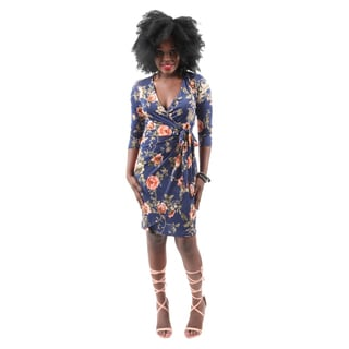 Hadari Women's Casual Sexy Party Evening Short Blue Flower Print Dress