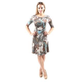 Hadari Women's Casual Round Neck Teal Paisley Print Short Dress