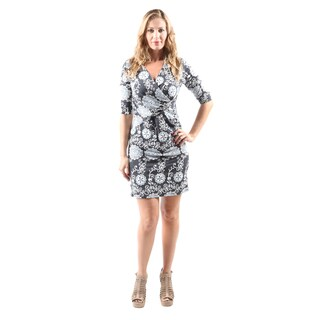 Hadari Women's Casual Sexy Evening Party V-Neck Grey Flower Print Short Dress
