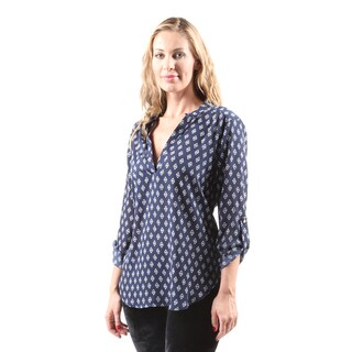 Hadari Women's Casual Sexy Fashion 3/4 Sleeve Navy Blouse Shirt Top