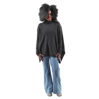 Hadari Women's Casual Winter Warm High Low Cape Batwing Turtleneck Sweater