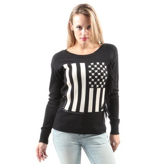 Hadari Women's Casual Fashion American Flag Print Knitted Black Sweater