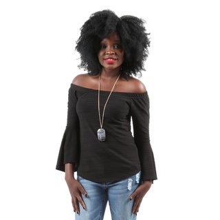 Hadari Women's Casual Sexy Off Shoulder Bell Sleeve Loose Fit Blouse Top