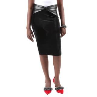 Hadari Women's Bodycon Fitted Pull On Knee Length Midi Tube Pencil Skirt