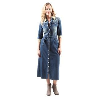 Hadari Women's Casual Fashion Elegant Button Down Belted Denim Dress