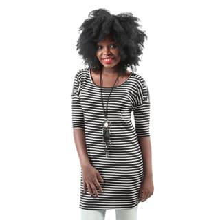 Hadari Women's Casual Slimming Black & White Tunic Stripe Blouse Shirt Top