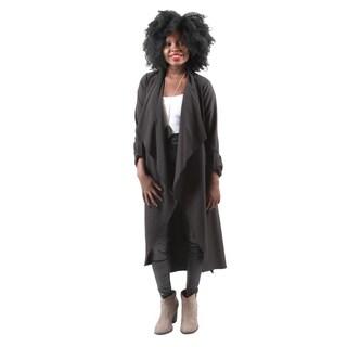 Hadari Women's Fashion Sexy Long Sleeve Lapel Open Front Black Cardigan