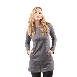 Hadari Women's Casual Long Sleeve Grey Round Neck Tunic Top