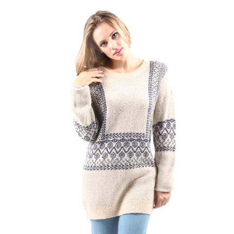 Hadari Women's Round Neck Long Sleeve Chevron Print Cardigan Sweater