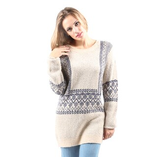 Hadari Women's Round Neck Long Sleeve Chevron Print Cardigan Sweater