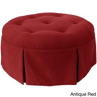Skyline Furniture Linen Fabric Modern Ottoman in Linen