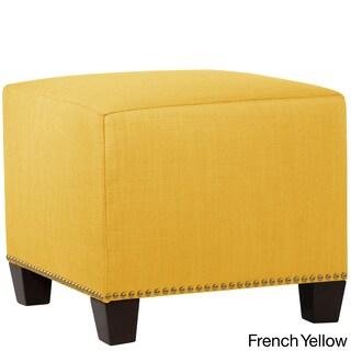 Skyline Furniture Linen Fabric Modern Ottoman in Linen (Option: Linen French Yellow)