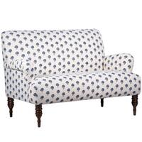 Skyline Furniture Hand Flora Indigo Fabric  Modern Loveseat