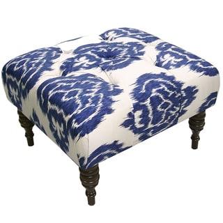 Skyline Furniture Diamond Blue Fabric  Tufted Ottoman in Diamond Blue
