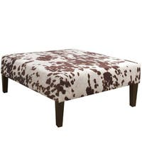 Skyline Furniture Udder Madness Milk Fabric  Cocktail Ottoman in Udder Madness Milk