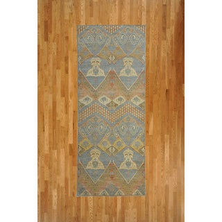 Oushak Oriental Light Blue, Cream, and Yellow Wool Rug (4'1 x 10'3)