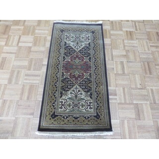 Agra Brown Wool Oriental Hand-knotted Area Rug (2 x 4'1)