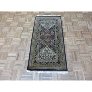 Oriental Agra Brown Wool Hand-knotted Rug (2'10 x 4'1)